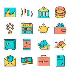 Finance and money icon set in colored line style vector