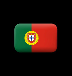 Flag of portugal matted icon and button vector