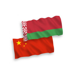 flags belarus and china on a white background vector image