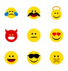 Flat icon emoji set of hush happy cheerful vector