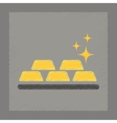 Flat shading style icon gold bullion vector