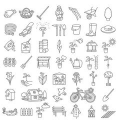 Garden icon tool set vector