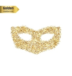 Gold glitter icon of mask isolated on vector