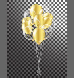 Gold transparent balloon on background balloons vector