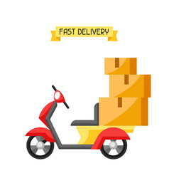 Goods delivery by motorcycle vector