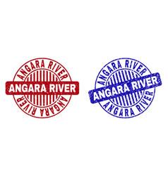 grunge angara river scratched round stamp seals vector image
