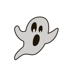 halloween ghost hand drawn flat line icon vector image