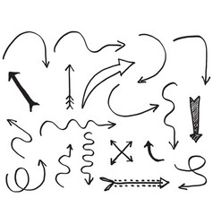 hand drawn arrows with doodle style isolated on vector image
