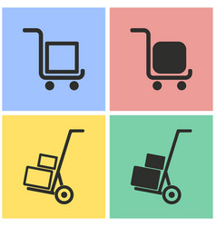 Handcart icon set vector
