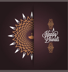Happy diwali vintage card design background vector