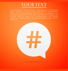 Hashtag in circle icon on orange background vector