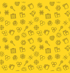 Honey and beekeeping linear seamless vector