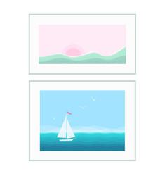 landscape pictures in frames interior design vector image