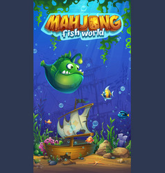 Mahjong fish world - mobile format playing field vector