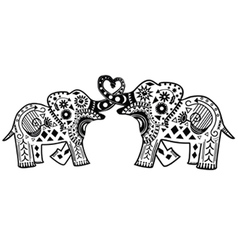 Mandala Elephants vector