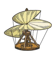 medieval helicopter model sketch engraving vector image