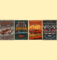 Muscle cars vintage colorful posters vector