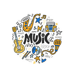 music doodle vector image