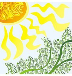 Nature pattern background branch and sun vector image