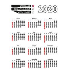 Norwegian calendar 2020 with numbers in circles vector