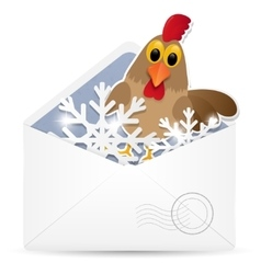 Open envelope with rooster vector