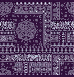 paisley bandana fabric patchwork wallpaper vector image