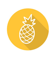 Pineapple flat linear long shadow icon vector