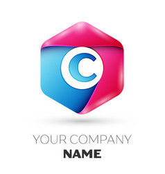 Realistic letter c in colorful hexagonal vector