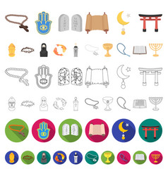 religion and belief cartoon icons in set vector image
