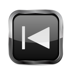 Rewind button black glass 3d icon vector