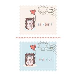 romantic cartoon hedgehog valentines postage vector image