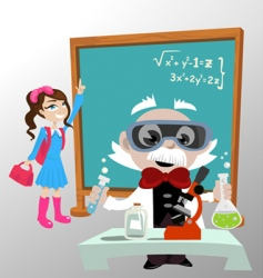 science professor with student vector image
