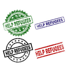 scratched textured help refugees seal stamps vector image