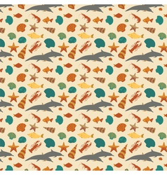 Sea animals background pattern flat style vector image