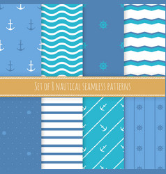 set of 8 nautical seamless patterns vector image