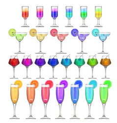set of stemware and glasses with cocktail vector image