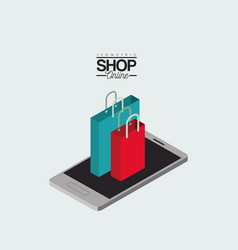 shopping bags over smartphone colorful poster vector image