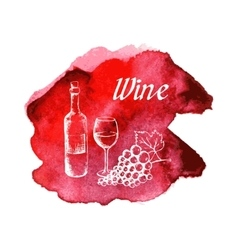 Sketch wine on watercolor stain vector