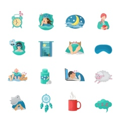 Sleep Time Flat Icons Set vector image