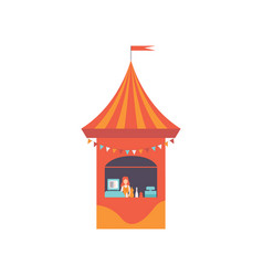 Street vendor booth with fast food and seller vector