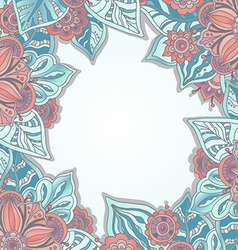 template with flowers and leaves for greeting card vector image vector image