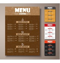 Templates of different colors coffee menu with vector image