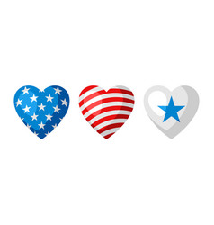 three heart shapes in american flag colors vector image