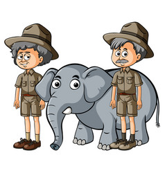 two parkranger with baby elephant vector image