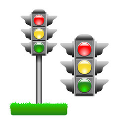 Typical horizontal traffic signals with red green vector