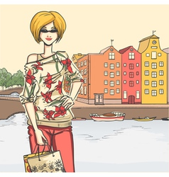 Urban view and elegant glamour girl after shopping vector image