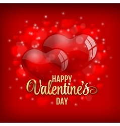 Valentines day greeting with red heart baloons and vector