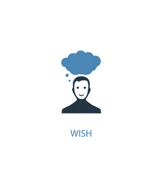 wish concept 2 colored icon simple blue element vector image