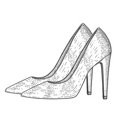 women shoes high heels hand drawn sketch vector image