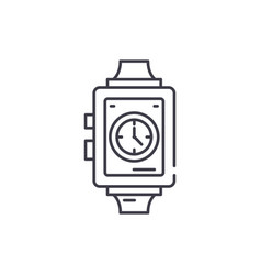 wrist watch line icon concept wrist watch vector image